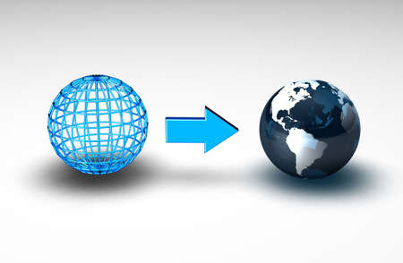 Wireframe globe next to the planet earth photo