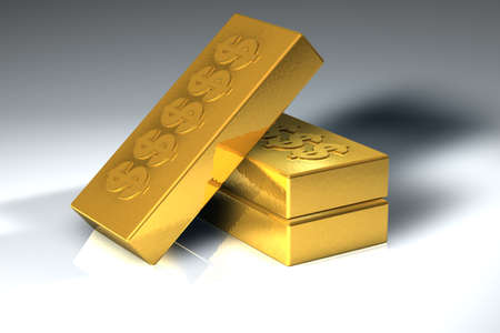 Gold blocks stacked on top of eachother Stock Photo - 519965