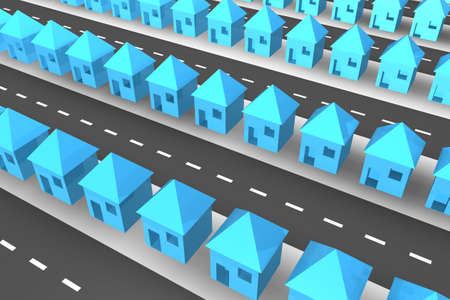 neighbour: Lines of blue 3d houses