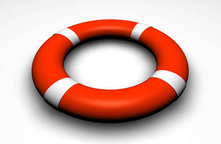 3d Life buoy on a white surface Stock Photo