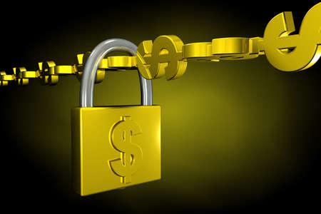 locked up: chain of dollars locked up with padlock Stock Photo