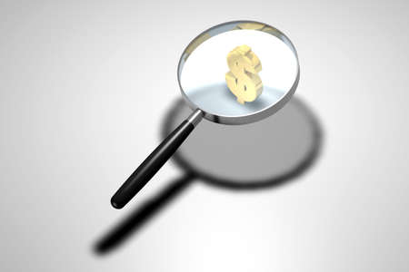 enhances: Magnifying glass looking at golden dollar symbol Stock Photo