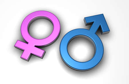 Male and female 3d symbols