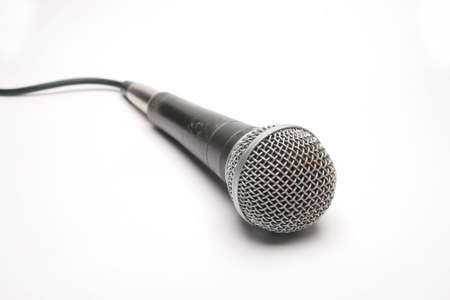 decibels: Isolated Microphone with cord showing Stock Photo