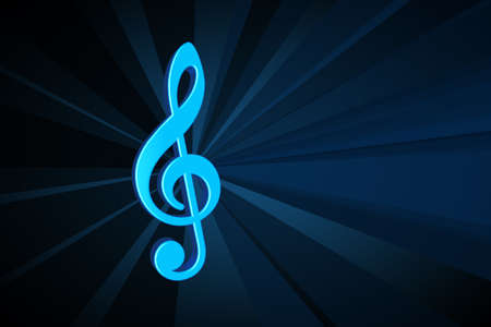 Bllue 3d Music symbol on a dark background Stock Photo