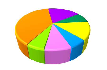 sales executive: 3d Pie Graph with different colored segments