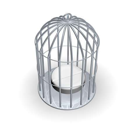 White tablet trapped in cage Stock Photo - 521012