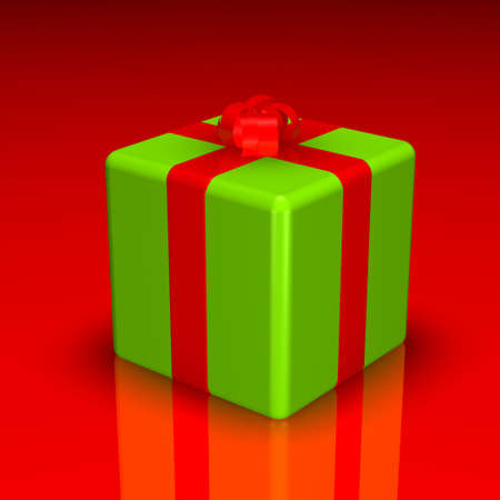 3d christmas gift, red and green. photo