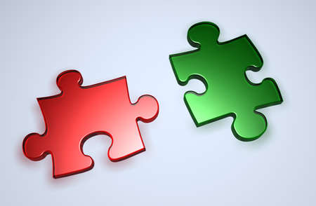 Red and Green Puzzle pieces Stock Photo