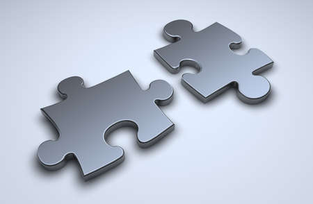 Two 3d puzzle pieces on light blue surface Stock Photo