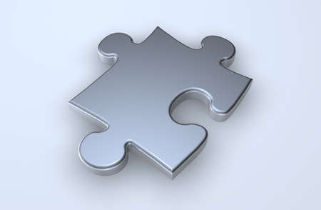 Single puzzle piece on a light blue surface Stock Photo