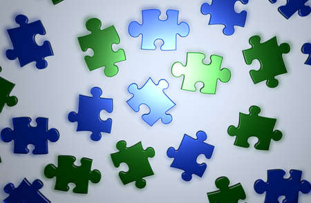 Blue and green Puzzle pieces photo