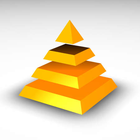 3d Pyramid split in four sections