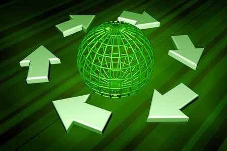 replenish: Six 3d arrows symbolising recycling