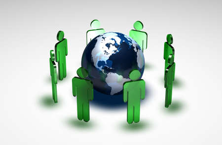 peace plan: Green figures standing in a circle around the planet earth Stock Photo