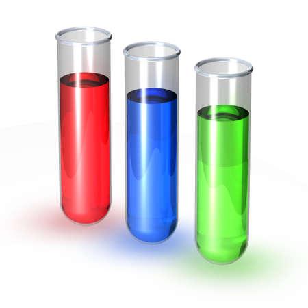 antidote: Drie reageerbuisjes gevuld met rode blauwe en groene vloeistof Stockfoto
