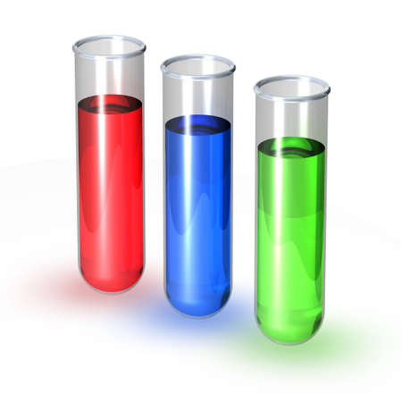 Three test tubes filled with red blue and green liquid