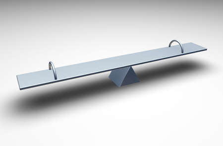 balanced: 3d Seesaw on a light grey background Stock Photo