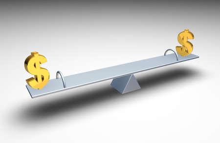 balancing: Two dollar symbols balancing on a seesaw