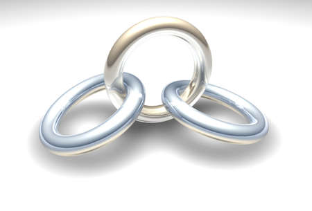 linked together: Three 3d chrome rings linked together