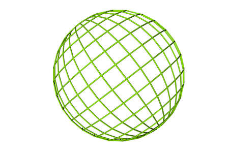Green simple 3d wirefram globe Stock Photo