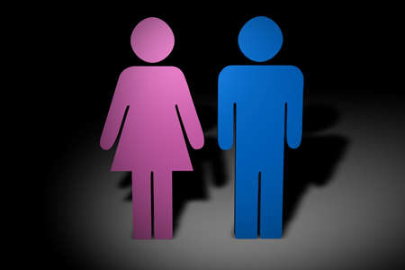 masculin: Male and female 3d figures Stock Photo