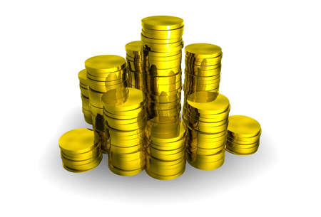 Pile of shiny gold coins Stock Photo