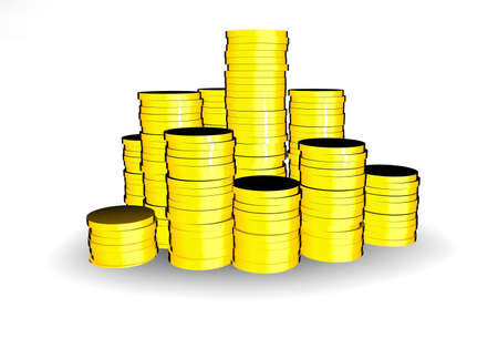 finanical: Pile of shiny gold coins Stock Photo