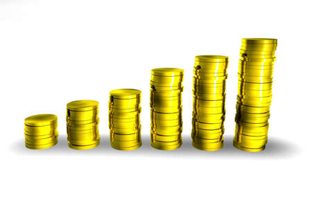 finanical: Piles of 3d coins making an increasing graph