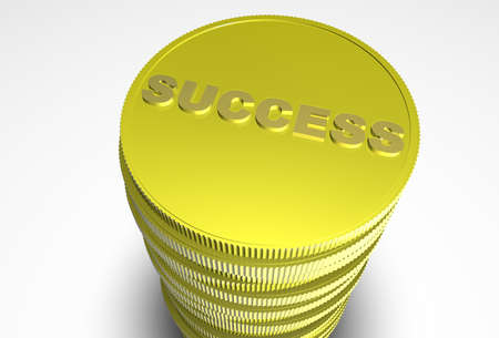 finanical: Pile of coins with the word success on them.