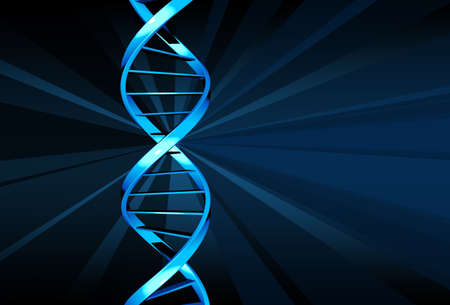 dna strand: Blue DNA strand with a blue bakground