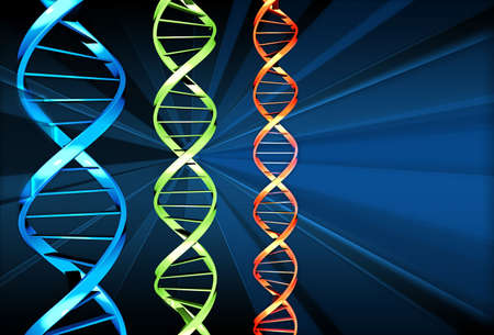 Three DNA strands of different colours Stock Photo - 520694