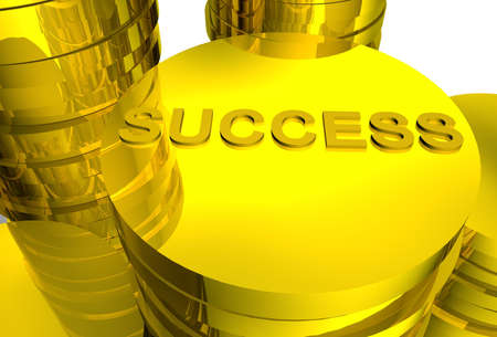 finanical: The word success printed on a shiny gold coin Stock Photo