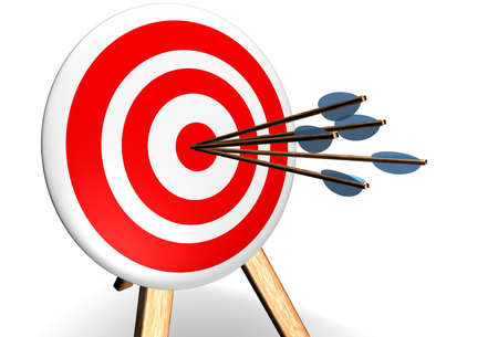 bull rings: 5 arrows in the bullseye on a target Stock Photo