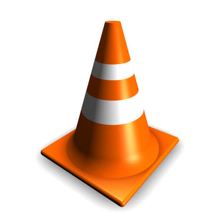 3d Traffic cone on white background