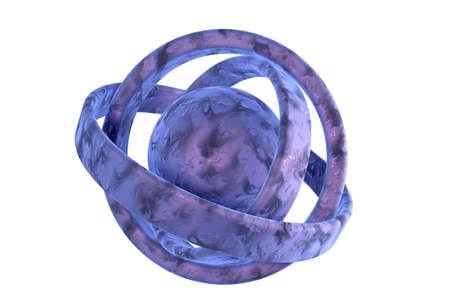 nodal: purple 3d atommolecule on white Stock Photo