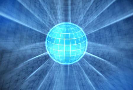 3d mundo con una brillante luz brillante procedentes de dentro de Foto de archivo - 520615