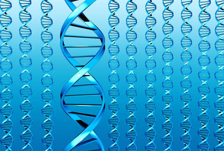 researchs: Many blue DNA (double helixes)