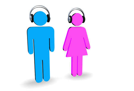 bluey: Male and female figures wearing headphones