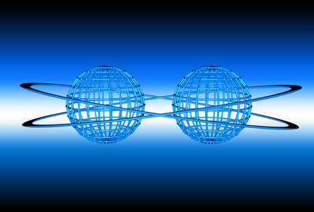 Two blue wireframe globes tied together