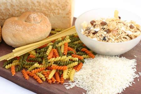 Pasta rice bread cereal platter