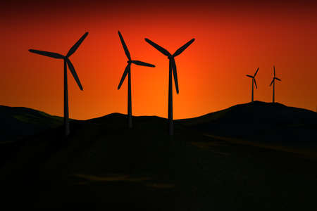 conservational: 3d Windfarm dark at sunset Stock Photo