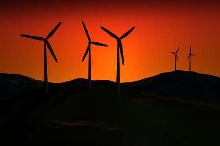 windfarm: 3d WindFarm oscuridad a la puesta de sol