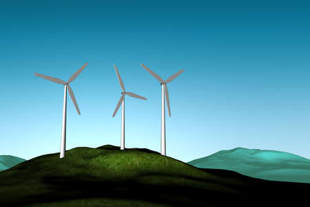 Windfarm on a hilltop with blue sky Stock Photo