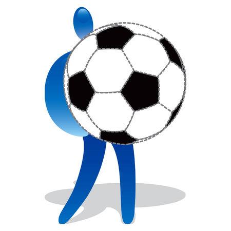 Human shape with huge soccer ball