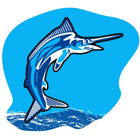 Jumping Marlin fish Иллюстрация
