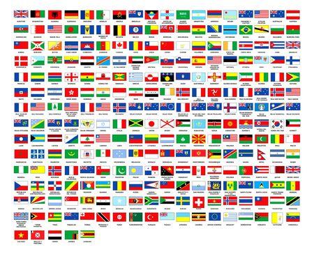 257 World vlaggen alfabetisch volgorde witte achtergrond