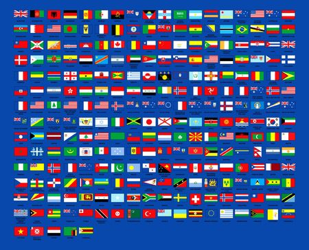 257 World flags alphabetically order Blue background