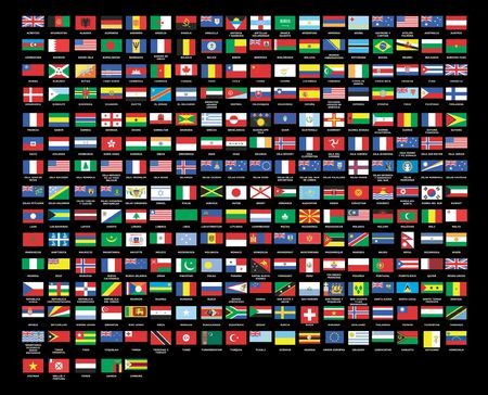 257 World flags alphabetically order black background