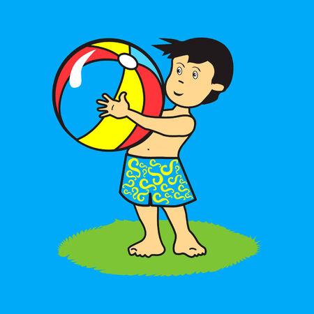Latin kid with beach ball Ilustração